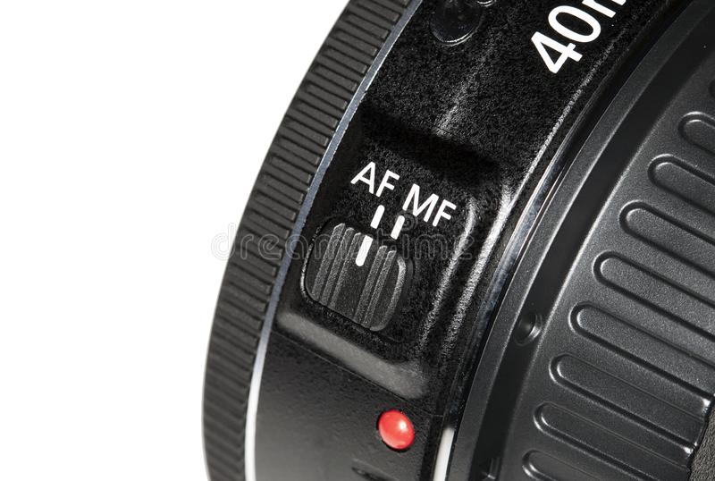 Focus switch on lens camera royalty free stock images