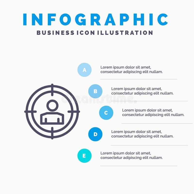 Focus, Target, Audience Targeting,  Line icon with 5 steps presentation infographics Background vector illustration