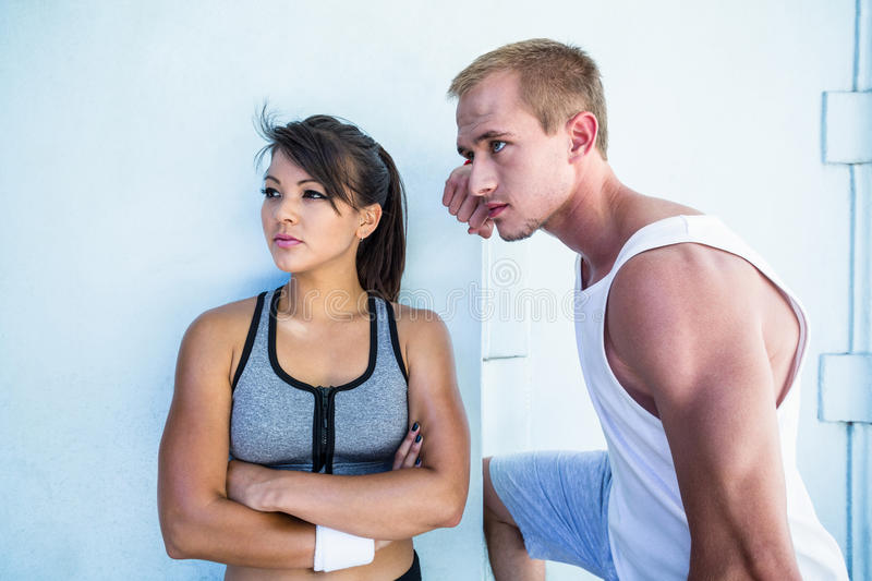 Focused couple looking away royalty free stock photo