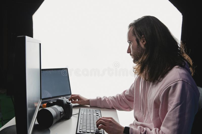 Focused on His Job stock images