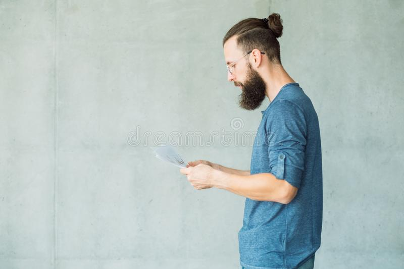 Focused man read business documents information royalty free stock photos