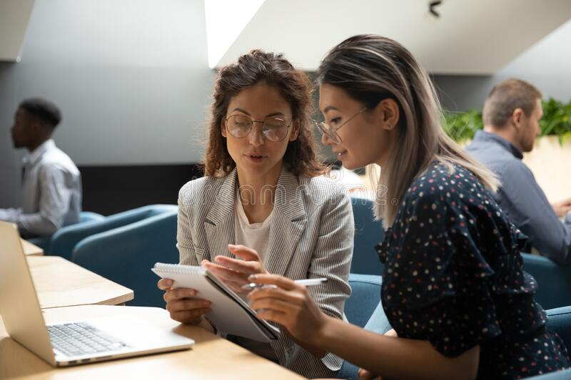 Focused millennial women discuss business plan in office royalty free stock image