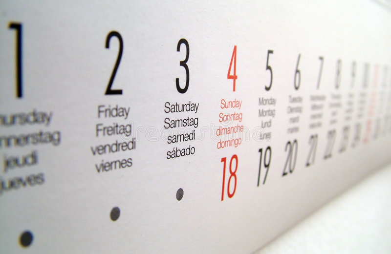 Focused on the weekend. A shot of the calender focused at the weekend royalty free stock images