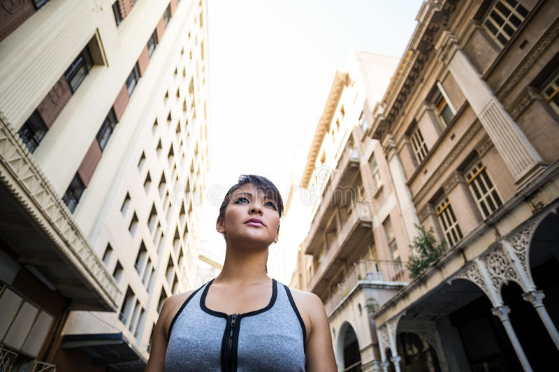A focused woman looking away royalty free stock images