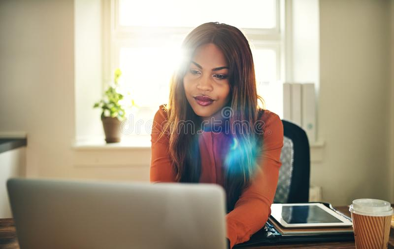 Focused young woman working online in her home office royalty free stock image