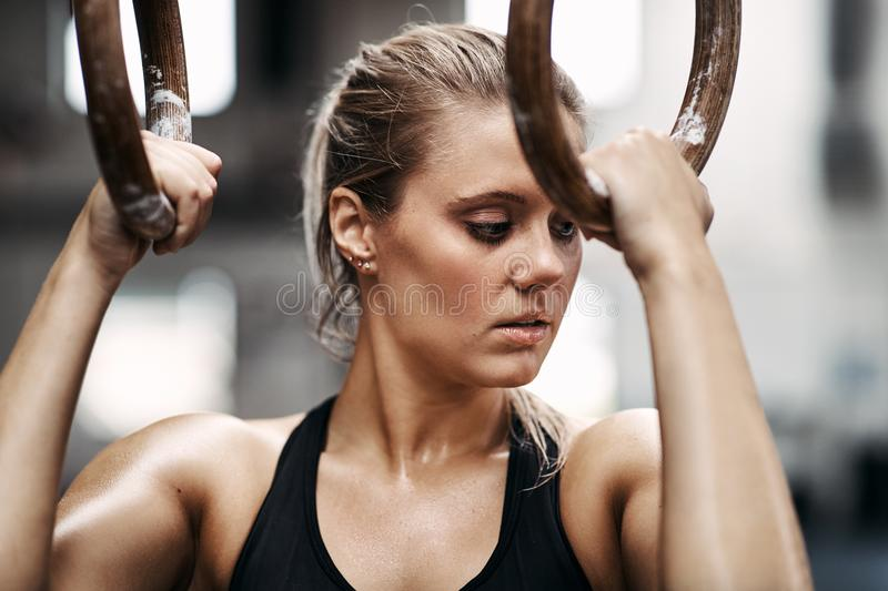 Focused young woman working out on rings at the gym stock image