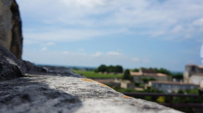 Focusing on the stone wall stock image