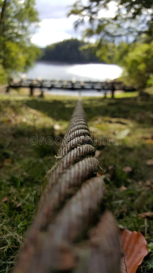 Focussed steel rope royalty free stock photo