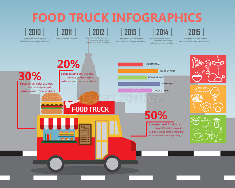 Fod ciężarówki infographics ilustracja wektor