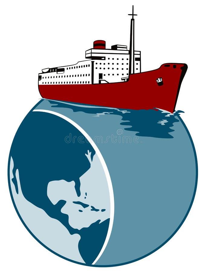 Fodera di oceano con il globo illustrazione di stock