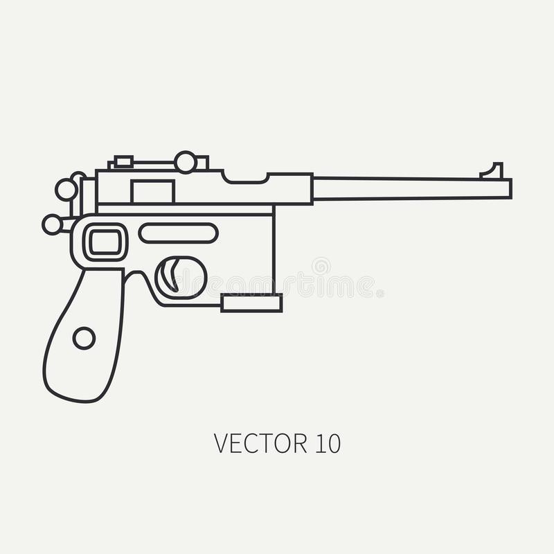 Fodra handeldvapnet för symbolen för vektorn för den plana slätten den militära, pistol Arméutrustning och rustning Legendariskt  vektor illustrationer
