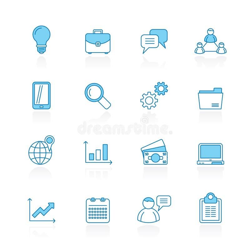 Fodra med blåa bakgrundsaffärs-, finans- och ledningsymboler vektor illustrationer