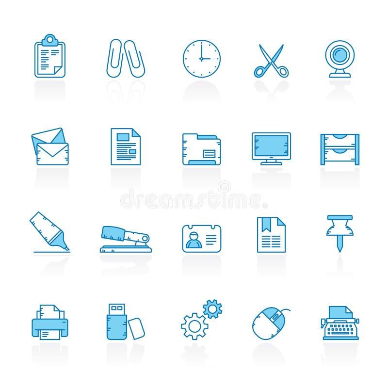 Fodra med blåa symboler för bakgrundsaffärs- och kontorsutrustning royaltyfri illustrationer