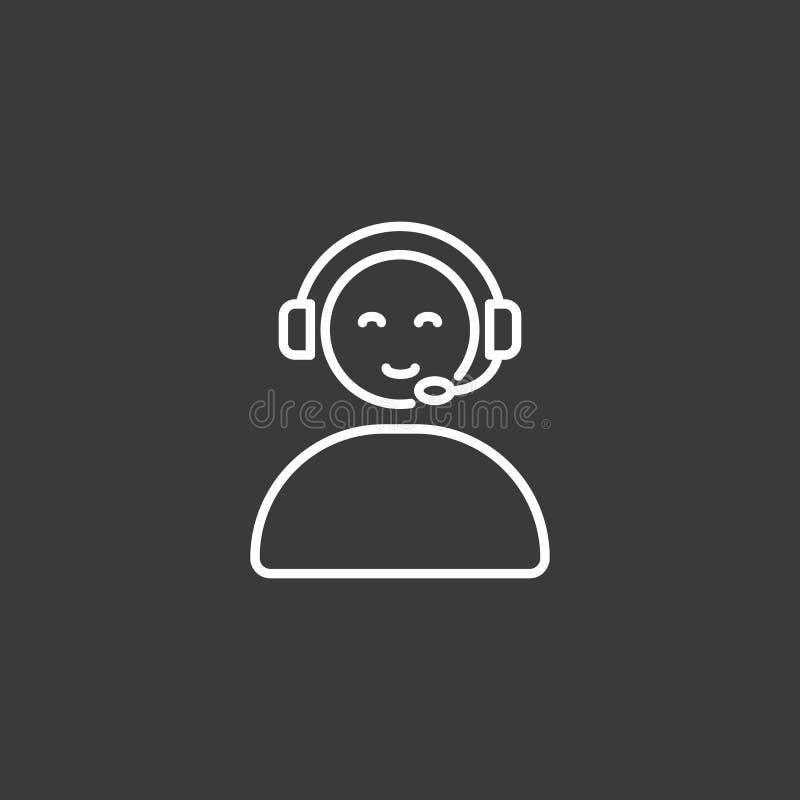 Fodra symbolen för appellmittoperatören, online-service vektor illustrationer