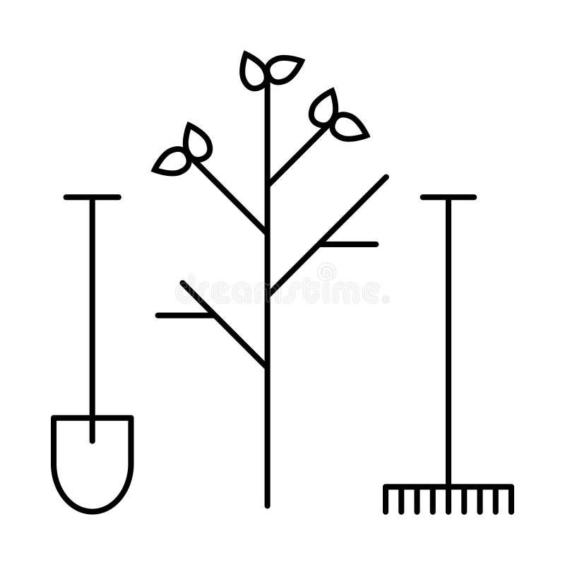 Fodra symbolshjälpmedelskyffeln och kratta stock illustrationer