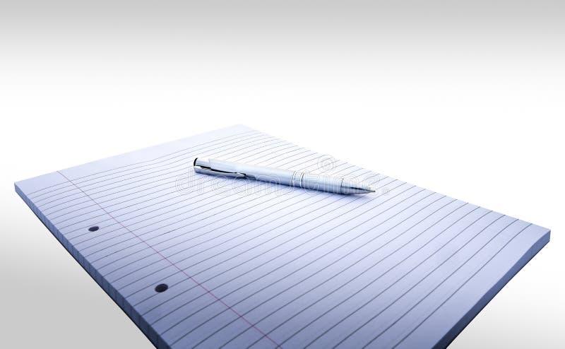 Fodrad och stansad anmärkningsbok med marginal och penna på vit bakgrund royaltyfri foto