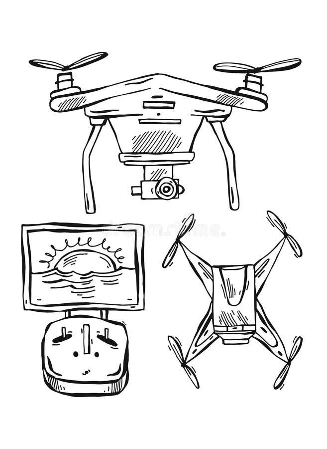 Fodrade den utdragna vektorn för handen illustrationen av surr, multicopter som isolerades på vit bakgrund royaltyfri illustrationer