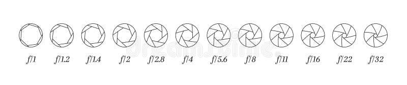 Fodrade symboler för kameralins ror membranen med öppningsvärdenummer stock illustrationer