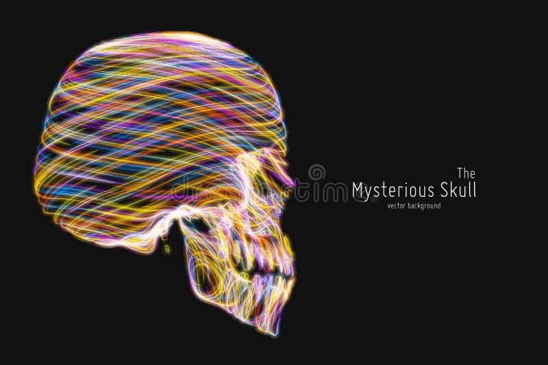 Fodrar den färgrika skallen för vektorn som konstrueras med ljust glöda Begreppsmässig illustration för mänskligt huvud Abstrakt  vektor illustrationer