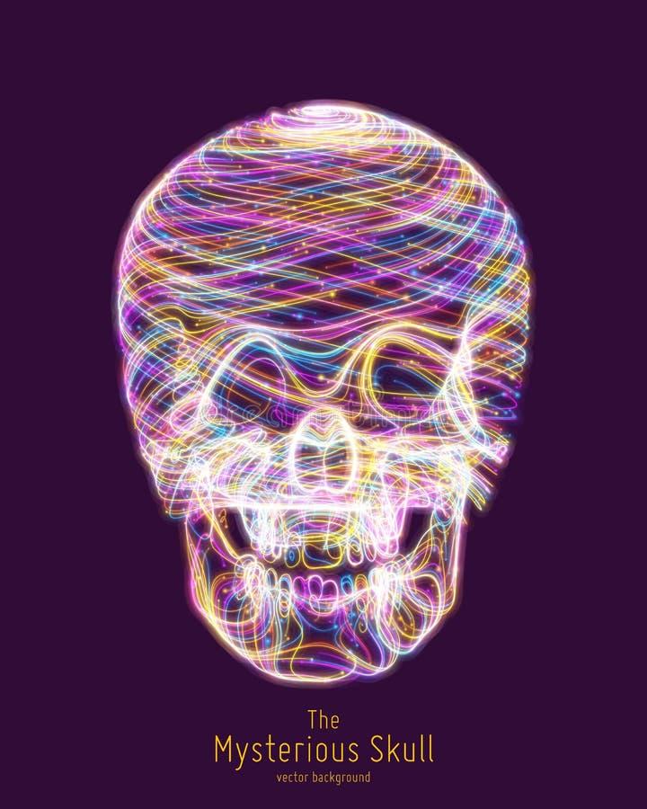 Fodrar den färgrika skallen för vektorn som konstrueras med ljust glöda Begreppsmässig illustration för mänskligt huvud Abstrakt  royaltyfri illustrationer