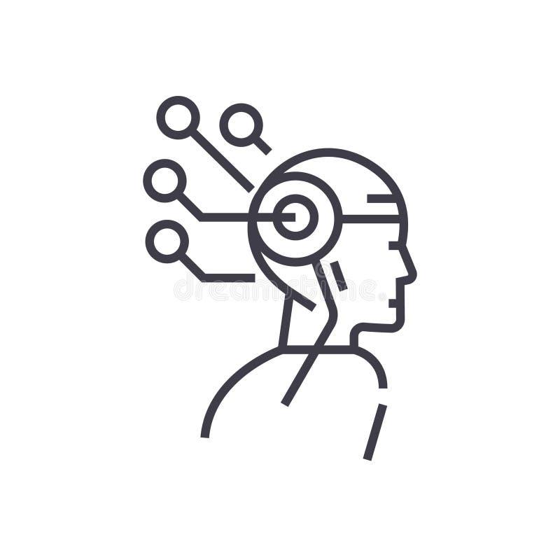Fodrar den head tänkande begreppsvektorn för konstgjord intelligens thin symbolen, symbolet, tecknet, illustration på isolerad ba royaltyfri illustrationer