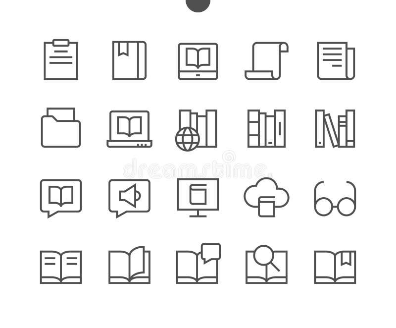 Fodrar den läs- sikten skisserade Brunn-tillverkade vektorn för PIXELet Perfect thin symboler 48x48 som är klara för rastret 24x2 stock illustrationer