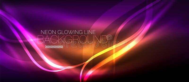 Fodrar den purpurfärgade eleganta släta vågen för neon digital abstrakt bakgrund royaltyfri illustrationer