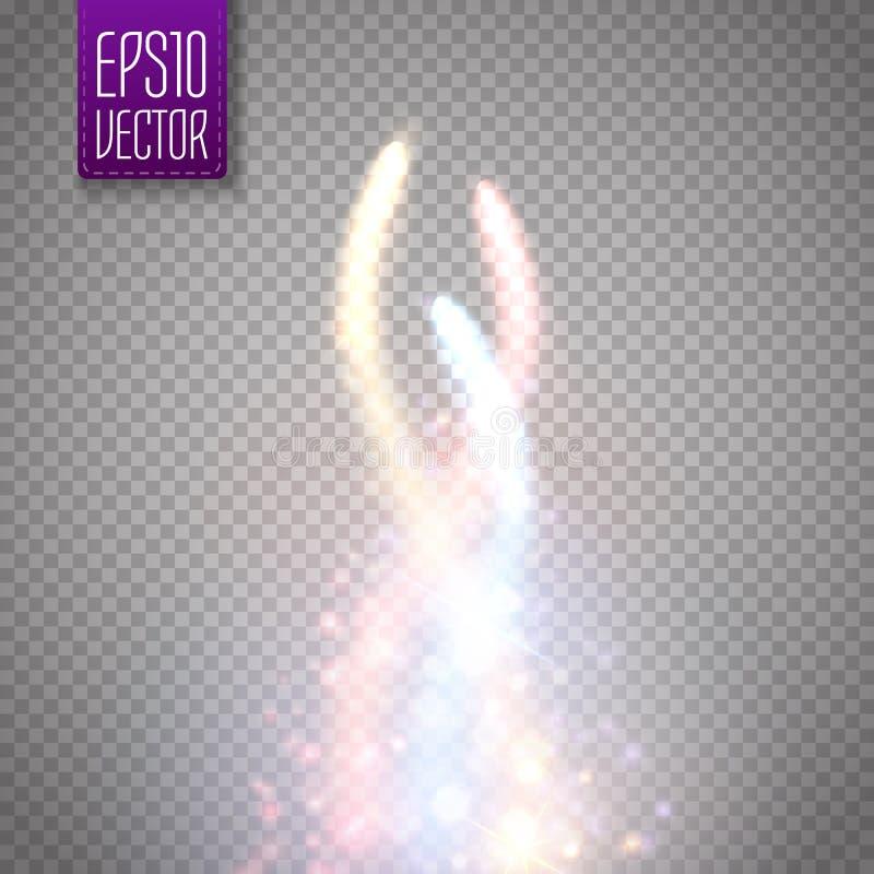 Fodrar ljus effekt för den magiska glödstjärnan med buktad färgrik suddighet vektor illustrationer