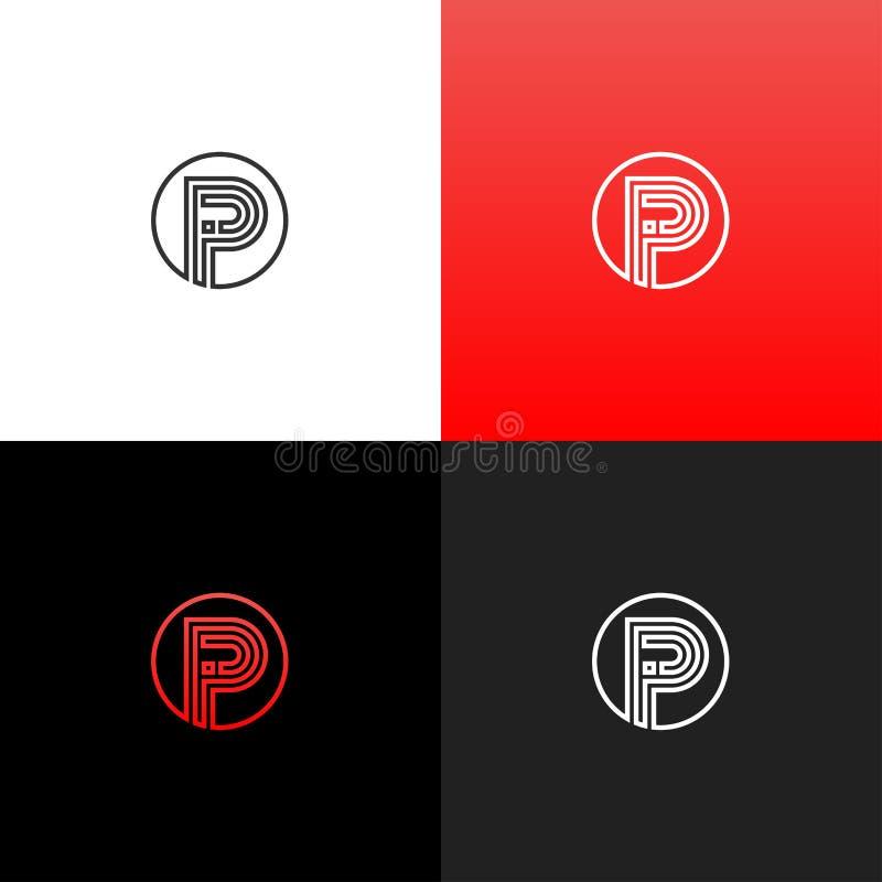 Fodrar logo P i cirkel Linjär logo av bokstaven p för företag och märken med en röd lutning stock illustrationer