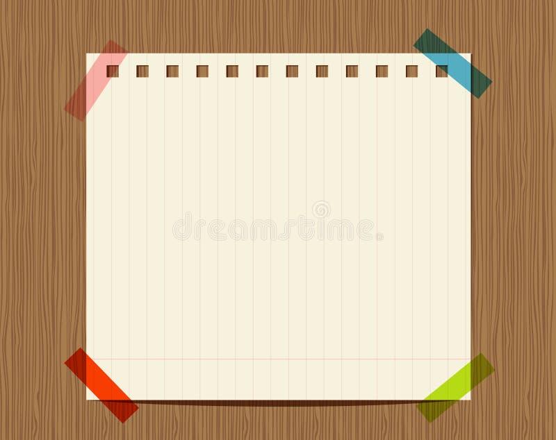 Fodrat papper av anteckningsboken på träväggen stock illustrationer
