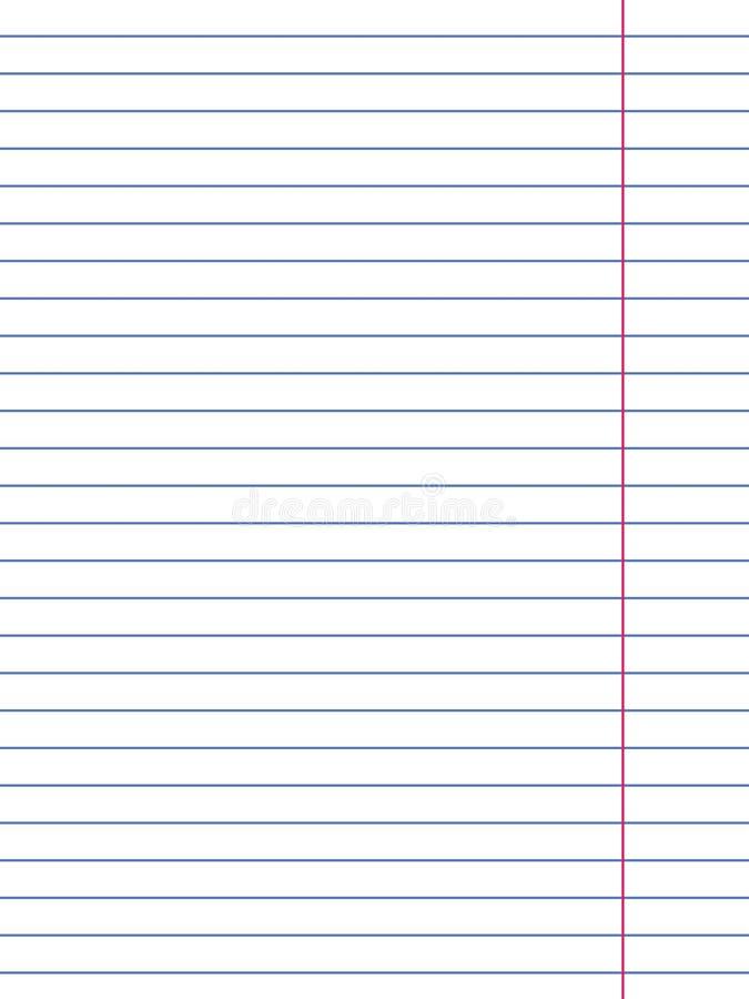 Fodrat papper fr?n en anteckningsbok p? vit bakgrund ocks? vektor f?r coreldrawillustration stock illustrationer