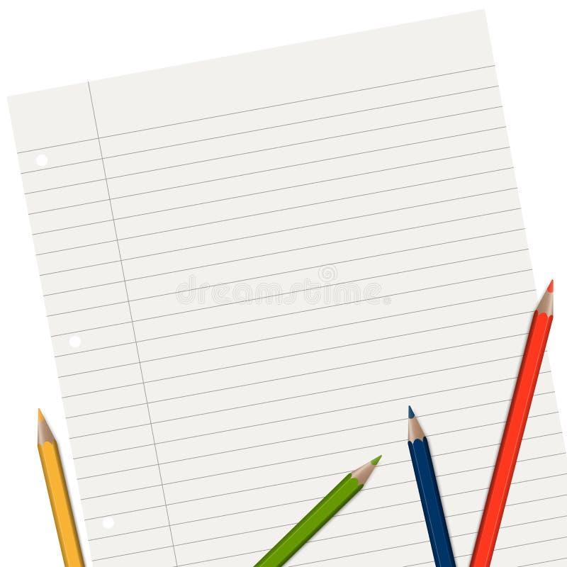 fodrat papper med blyertspennor vektor illustrationer