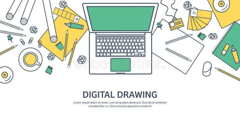 Fodrat plan grafisk rengöringsdukdesign för ouline Teckning och målning utveckling Illustration och skissa som är frilans- använd royaltyfri illustrationer