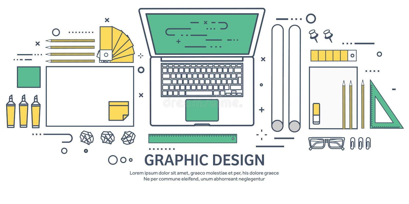 Fodrat plan grafisk rengöringsdukdesign för ouline Teckning och målning utveckling Illustration och skissa som är frilans- använd vektor illustrationer