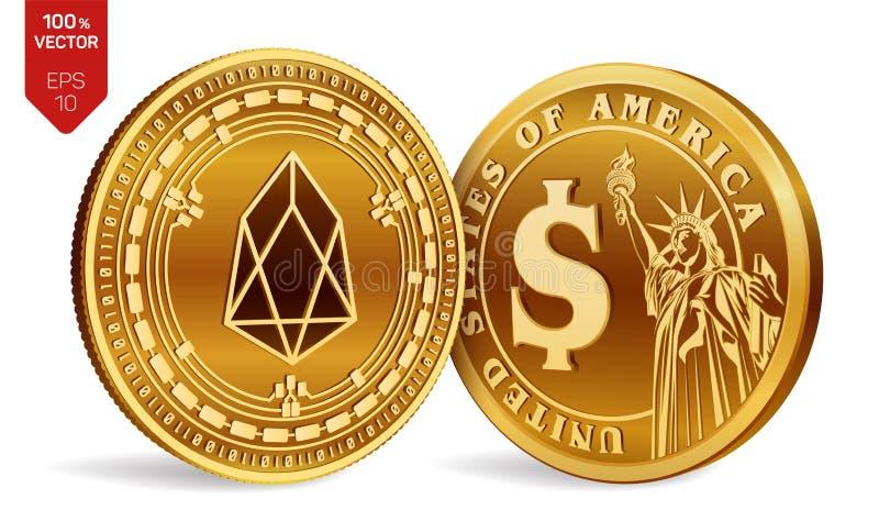 FOE Moneda del dólar monedas físicas isométricas 3D Moneda de Digitaces Cryptocurrency Monedas de oro con símbolo del FOE y del d ilustración del vector