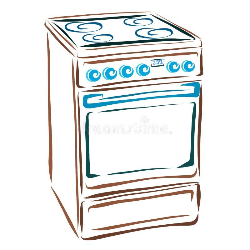 Fogão bonde, aparelhos eletrodomésticos para a cozinha ilustração royalty free