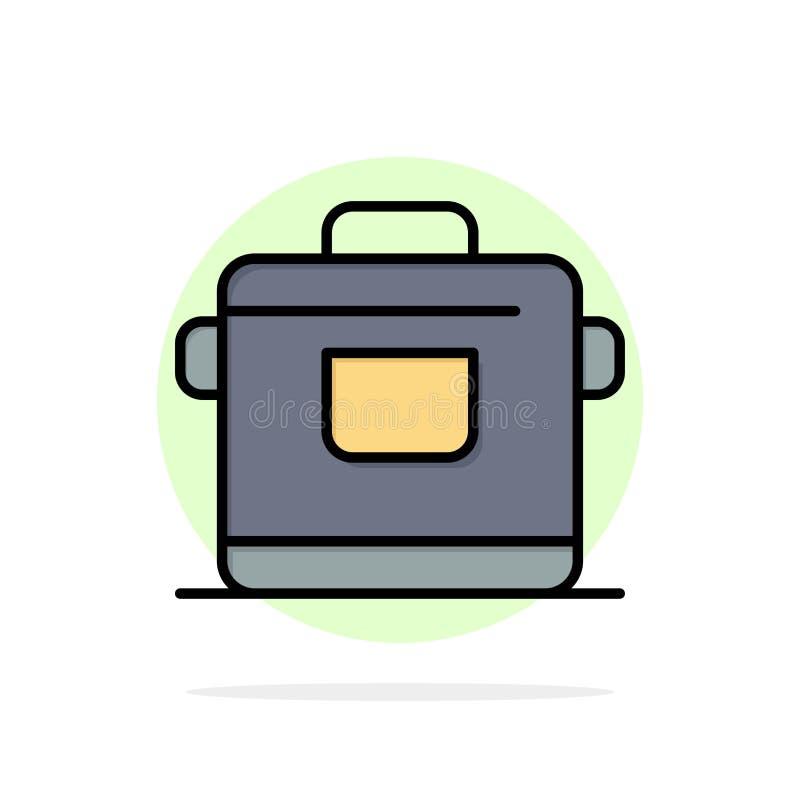 Fogão, cozinha, arroz, ícone liso da cor do fundo do círculo do sumário do hotel ilustração do vetor