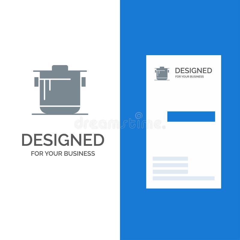 Fogão, cozinha, arroz, cozinheiro Grey Logo Design e molde do cartão ilustração stock