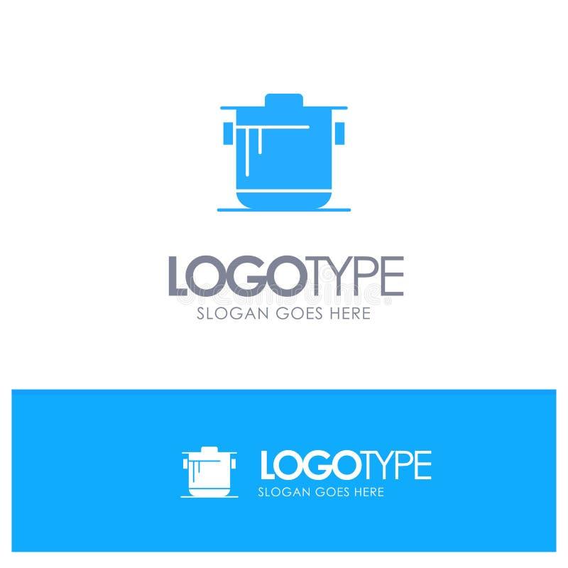 Fogão, cozinha, arroz, vetor de Blue Logo do cozinheiro ilustração stock