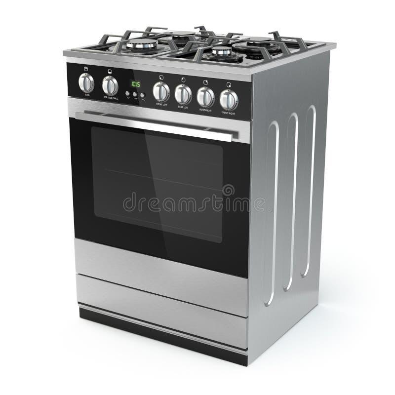 Fogão de gás de aço inoxidável com o forno no branco ilustração stock