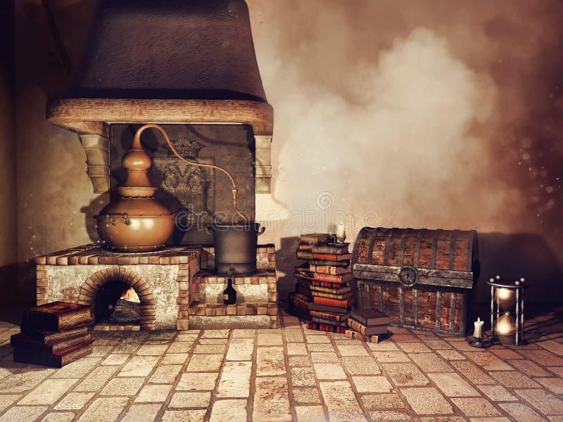 Fogão do ` s do alquimista e outros objetos ilustração stock