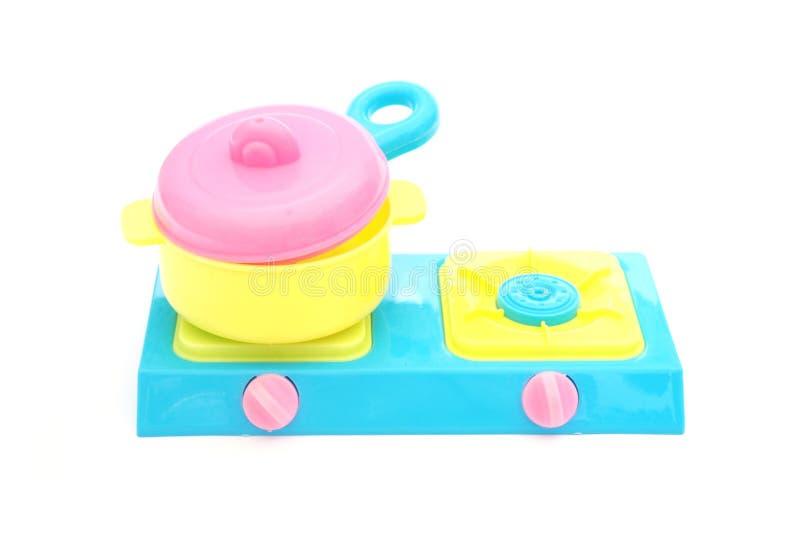 Fogões plásticos do potenciômetro e de gás do brinquedo fotografia de stock