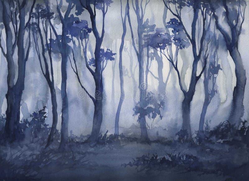 Fog в лесе, иллюстрации акварели чертежа руки иллюстрация штока