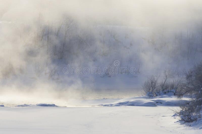 Fog над рекой на морозном утре стоковая фотография