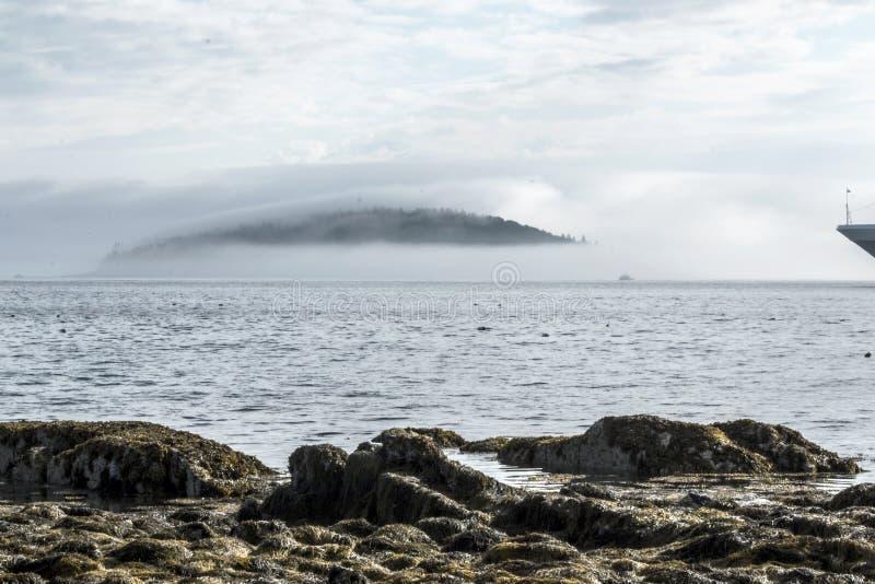 Fog остров дикобраза заволакивания гавани Мейна бара стоковое фото rf