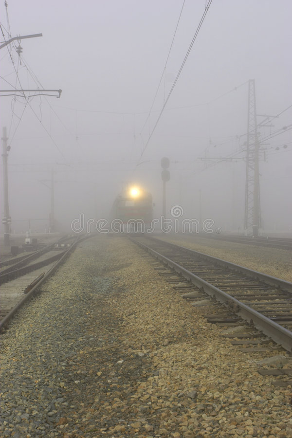 Fog. Railroad and fog royalty free stock photo