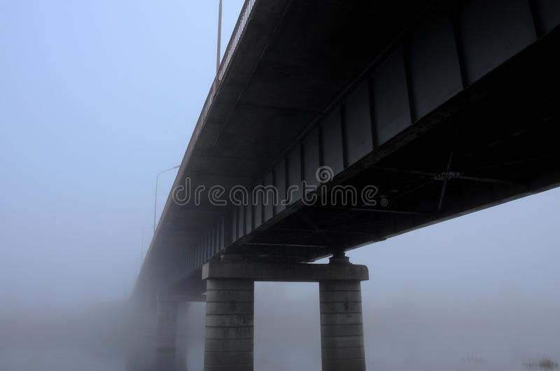 Fog on bridge stock photo