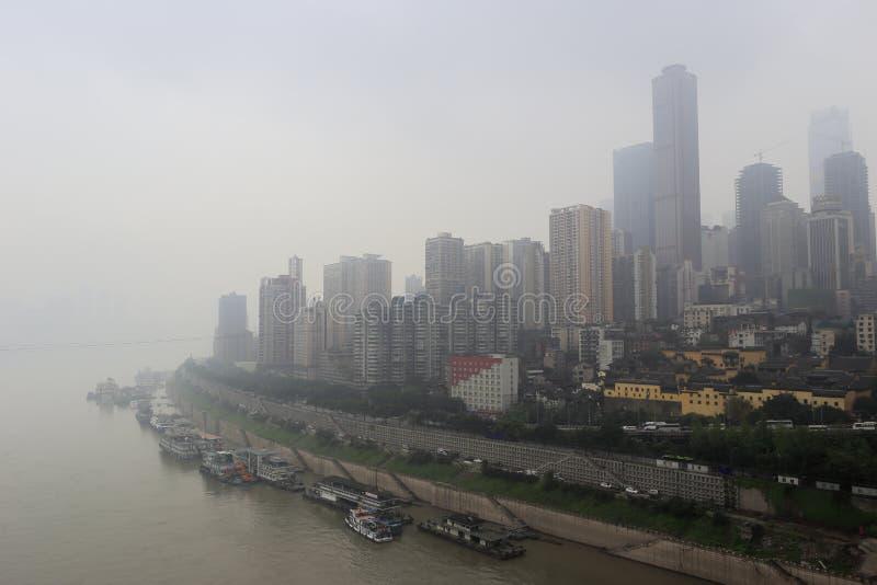 Fog chongqing city. Chaotianmen dock, chongqing city, china stock images
