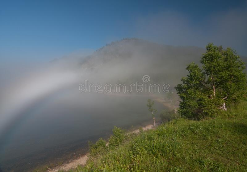Fog in the Circum-Baikal Railway stock image