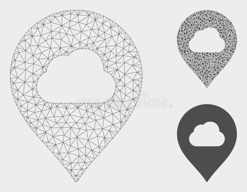 Fog Cloud Marker Vector Mesh Wire Frame Model and Triangle Mosaic Icon stock illustration